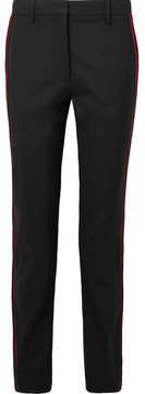 Calvin Klein Striped Wool-blend Straight-leg Pants - Black