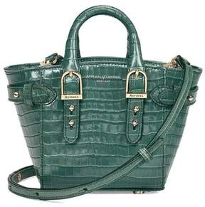 Aspinal of London Micro Marylebone Tote In Deep Shine Sage Small Croc
