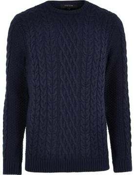 River Island Mens Navy blue cable knit crew neck sweater
