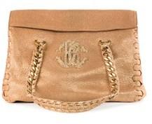 Roberto Cavalli Women's Gold Metallic Leather Shoulder Bag.