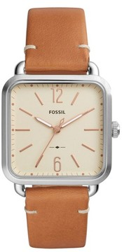 Fossil Women's Micah Leather Strap Watch, 32Mm X 32Mm
