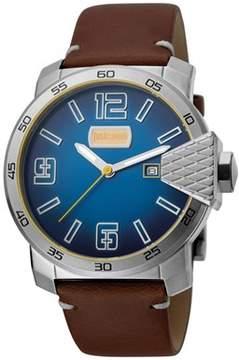Just Cavalli Men's Rock Blod Xxl Quartz Brown Leather Strap Watch.