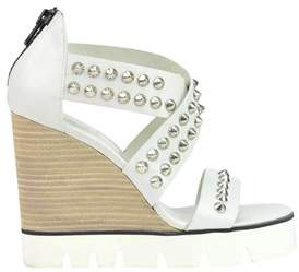 O.x.s. Women's White Leather Wedges.