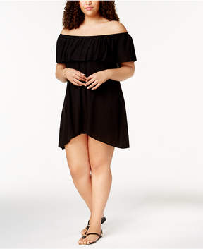 Becca Etc Plus Size Modern Muse Off-The-Shoulder Cover-Up Women's Swimsuit