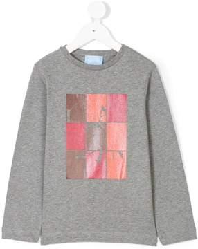 Lanvin Enfant metallic logo print long sleeve T-shirt