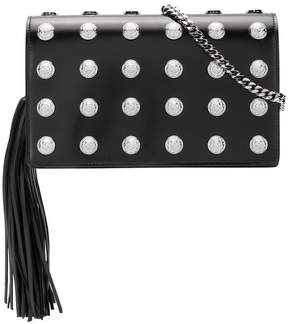 Balmain logo studded clutch bag