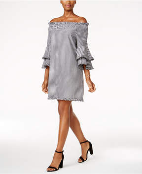 ECI Tiered-Sleeve Off-The-Shoulder Dress