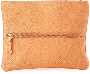 GiGi New York Snake-Embossed Crossbody Clutch Bag, Orange