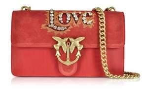 Pinko Women's Red Suede Shoulder Bag.