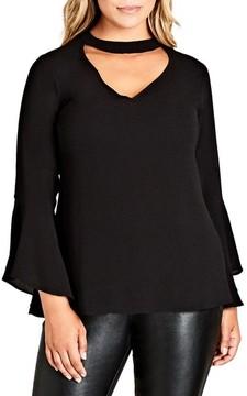 City Chic Plus Size Women's Shadow Choker Shirt