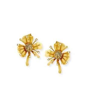 Sequin Golden Floral Burst Clip-On Earrings