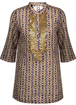 Figue Jasmine Stud-Embellished Printed Cotton-Voile Top