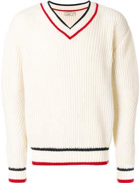 MAISON KITSUNÉ striped detail V-neck jumper