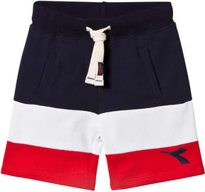 Diadora Navy, White and Red Branded Sweat Shorts