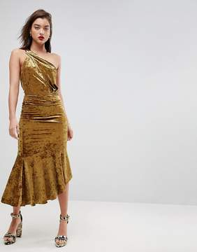 Asos One Shoulder Velvet Drop Hem Midi Dress