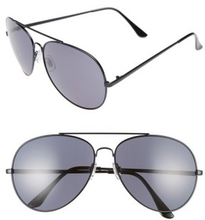 BP Women's 65Mm Oversize Aviator Sunglasses - Black/ Black