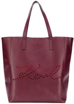 Karl Lagerfeld K/Signature Perforated shopper tote
