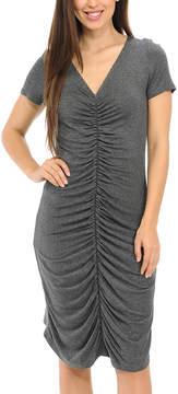 Bellino Charcoal Ruched V-Neck Dress - Women