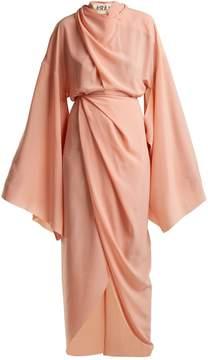 Awake High-neck draped woven dress