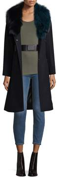 1 Madison Women's Solid Long Coat With Optional Belt