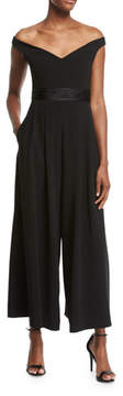 Cinq à Sept Vina Off-the-Shoulder Crepe Jumpsuit, Black