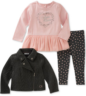 Calvin Klein 3-Pc. Moto Jacket, Peplum Tunic & Dot-Print Leggings Set, Baby Girls (0-24 months)