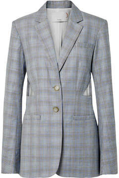 Tibi Cooper Oversized Cutout Prince Of Wales Checked Wool And Silk-blend Blazer - Gray