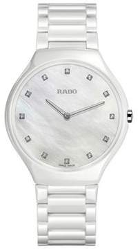 Rado True Thinline Mother of Pearl Dial White High-tech Ceramic Ladies Watch