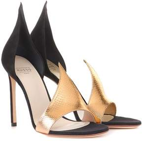 Francesco Russo Phard suede and snakeskin sandals