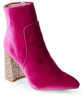 Betsey Johnson Magenta Velvet Kacey Glitter Heel Booties