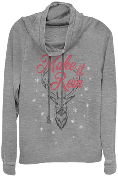 Fifth Sun Heather Gray 'Make It Rein' Reindeer Cowl Neck Pullover
