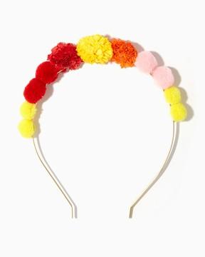 Multicolor Pom Pom Headband