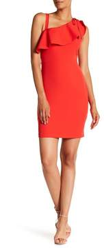 GUESS Ruffle One Shoulder Solid Dress