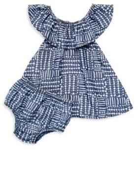Splendid Baby's Line & Dot-Print Dress & Bloomers Set