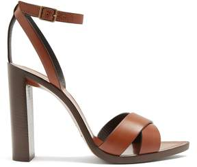 Saint Laurent Tanger wood and leather sandals