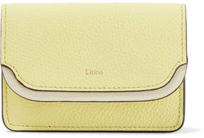 Chloé Two-tone Textured-leather Cardholder - Pastel yellow