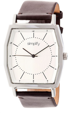 Simplify Silver & Dark Brown The 5400 Leather-Strap Watch