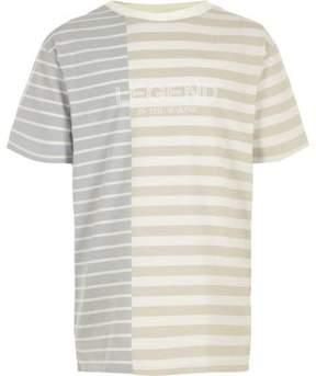 River Island Boys cream block stripe 'legend' T-shirt