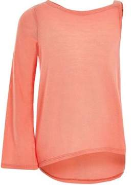 River Island Girls coral flared sleeve asymmetric sweater