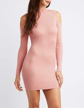 Charlotte Russe Ribbed Mock Neck Cold Shoulder Dress