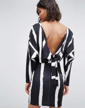 Asos Knot Back Batwing Dress In Blurred Stripe Print