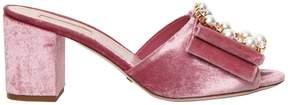 Sebastian 70mm Embellished Buckle Velvet Sandals