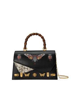 Gucci Ottilia Medium Insect Display Bamboo Top-Handle Bag - BLACK PATTERN - STYLE