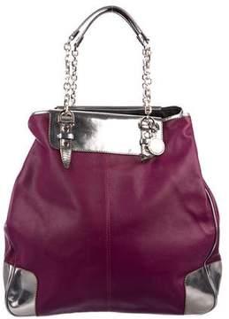 Lanvin Metallic Patent Leather-Trimmed Peplum Bag