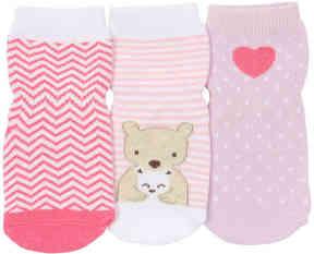 Robeez Girls Little Bear Hug Pin Infant & Toddler Socks - 3 Pack