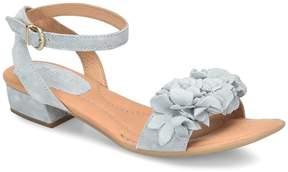Børn Bouvet Suede Leather Flower Detail Ankle Strap Block Heel Sandals