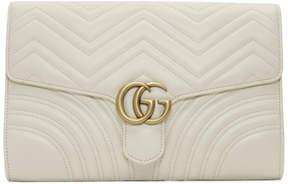 Gucci White Medium GG Marmont 2.0 Clutch