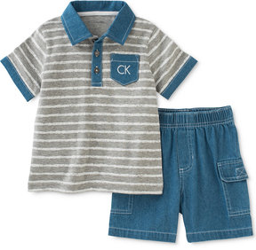 Calvin Klein 2-Pc. Polo Shirt & Denim Cargo Shorts Set, Baby Boys (0-24 Months)