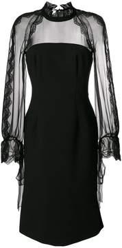 Alberta Ferretti long-sleeved lace midi dress