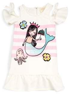 Hannah Banana Little Girl's Mermaid Cold-Shoulder Drop-Waist Dress